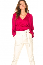 Dante 6 |  Blouse with v-neck Sue | pink  | Picture 2