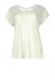 Blaumax |  Linen v-necked T-shirt Fine | light blue  | Picture 1