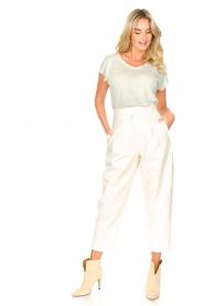 Blaumax |  Linen v-necked T-shirt Fine | light blue  | Picture 3