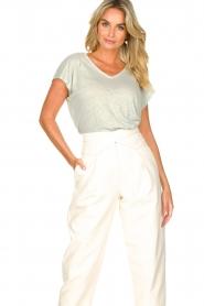 Blaumax |  Linen v-necked T-shirt Fine | light blue  | Picture 2