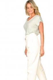 Blaumax |  Linen v-necked T-shirt Fine | light blue  | Picture 5