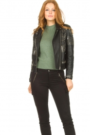 Dante 6    Leather jacket with studs Melrose   black    Picture 2