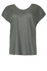 Blaumax |  Linen v-necked T-shirt Fine | dark grey  | Picture 1
