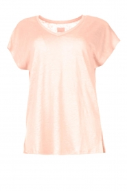 Blaumax |  Linen v-necked T-shirt Fine | pink  | Picture 1