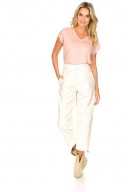 Blaumax |  Linen v-necked T-shirt Fine | pink  | Picture 3