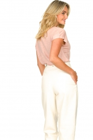 Blaumax |  Linen v-necked T-shirt Fine | pink  | Picture 6