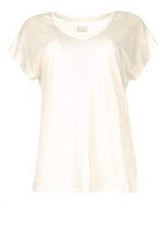 Blaumax |  Linen v-necked T-shirt Fine | natural  | Picture 1