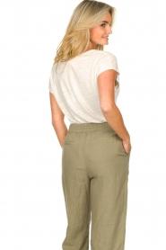 Blaumax |  Linen v-necked T-shirt Fine | natural  | Picture 7