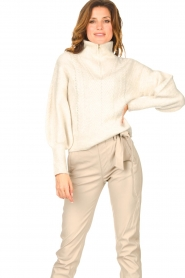 Dante 6 |  Knitted zip-up sweater Yina | natural  | Picture 6