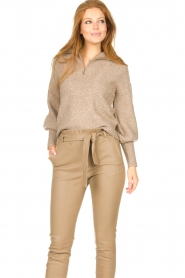 Dante 6 |  Knitted zip-up sweater Yina | beige  | Picture 4