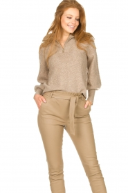 Dante 6 |  Knitted zip-up sweater Yina | beige  | Picture 5