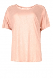 Blaumax |  Linen T-shirt with boat neck Over | pink  | Picture 1
