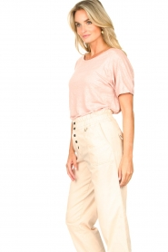 Blaumax |  Linen T-shirt with boat neck Over | pink  | Picture 5