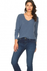 Blaumax |  Cotton sweater Ann | blue  | Picture 4