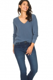 Blaumax |  Cotton sweater Ann | blue  | Picture 3