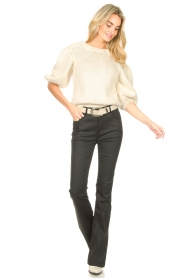 Dante 6 |  Flared pants with coating Billie | black  | Picture 2