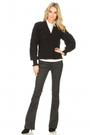 Dante 6 |  Flared pants with coating Billie | black  | Picture 3