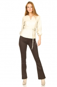 Dante 6 |  Flared pants with coating Billie | beige  | Picture 3