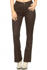 Dante 6 |  Flared pants with coating Billie | beige  | Picture 5