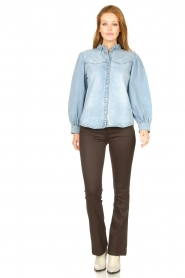 Dante 6 |  Flared pants with coating Billie | beige  | Picture 4