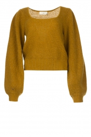 Copenhagen Muse |  Knitted sweater with puff sleeves Diva | green  | Picture 1