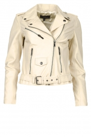 STUDIO AR BY ARMA |  Leather biker jacket with belt Kourtney | natural  | Picture 1
