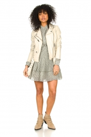 STUDIO AR BY ARMA |  Leather biker jacket with belt Kourtney | natural  | Picture 3