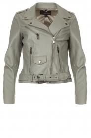 STUDIO AR BY ARMA |  Leather biker jacket with belt Kourtney | grey  | Picture 1