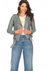 STUDIO AR BY ARMA |  Leather biker jacket with belt Kourtney | grey  | Picture 2