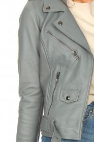 STUDIO AR BY ARMA |  Leather biker jacket with belt Kourtney | grey  | Picture 8