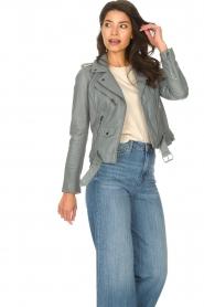 STUDIO AR BY ARMA |  Leather biker jacket with belt Kourtney | grey  | Picture 5