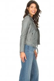STUDIO AR BY ARMA |  Leather biker jacket with belt Kourtney | grey  | Picture 6