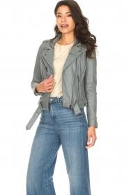 STUDIO AR BY ARMA |  Leather biker jacket with belt Kourtney | grey  | Picture 4