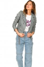 STUDIO AR |  Leather biker jacket with belt Kourtney | grey  | Picture 4