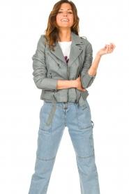 STUDIO AR |  Leather biker jacket with belt Kourtney | grey  | Picture 2