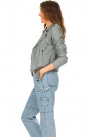 STUDIO AR |  Leather biker jacket with belt Kourtney | grey  | Picture 6