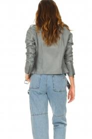 STUDIO AR |  Leather biker jacket with belt Kourtney | grey  | Picture 7