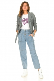 STUDIO AR |  Leather biker jacket with belt Kourtney | grey  | Picture 3