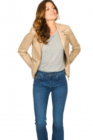 STUDIO AR BY ARMA |  Leather jacket with zip details Bebe | beige  | Picture 4
