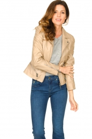 STUDIO AR BY ARMA |  Leather jacket with zip details Bebe | beige  | Picture 2