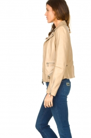 STUDIO AR BY ARMA |  Leather jacket with zip details Bebe | beige  | Picture 6