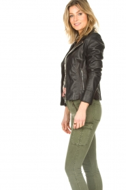 STUDIO AR BY ARMA :  Leather biker jacket with tricot details Kendell | black  - img6
