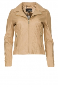 STUDIO AR BY ARMA |  Leather biker jacket with tricot details Kendell | beige  | Picture 1