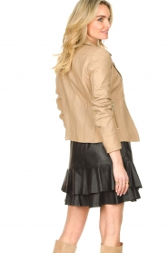 STUDIO AR BY ARMA |  Leather biker jacket with tricot details Kendell | beige  | Picture 6