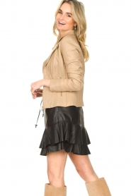 STUDIO AR BY ARMA |  Leather biker jacket with tricot details Kendell | beige  | Picture 5