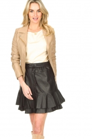 STUDIO AR BY ARMA |  Leather biker jacket with tricot details Kendell | beige  | Picture 2
