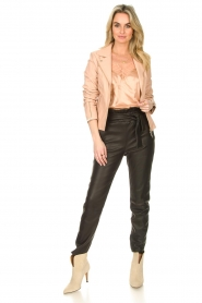STUDIO AR BY ARMA :  Leather biker jacket with zip details Cherry | nude - img3