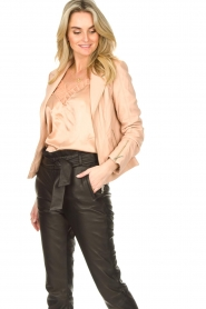 STUDIO AR BY ARMA :  Leather biker jacket with zip details Cherry | nude - img2