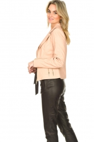 STUDIO AR BY ARMA :  Leather biker jacket with zip details Cherry | nude - img5