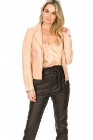 STUDIO AR BY ARMA :  Leather biker jacket with zip details Cherry | nude - img4